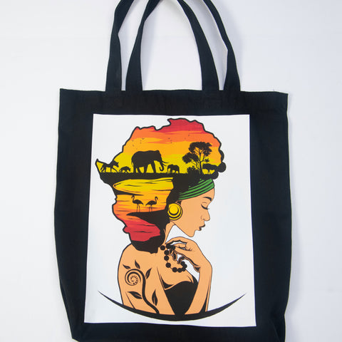 Black Tote Bag with Design of Woman Printed on Bag.