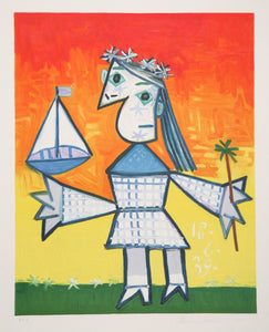 Pablo Picasso, Fillette Couronee au Bateau, 1-B, Lithograph on Arches Paper
