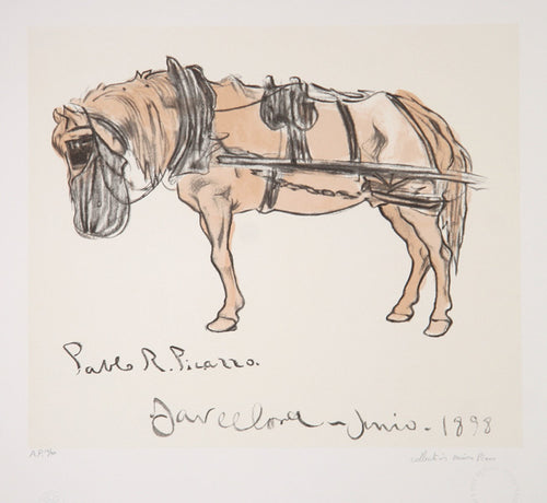 Pablo Picasso, Cheval Attele, 15-B, Lithograph on Arches Paper