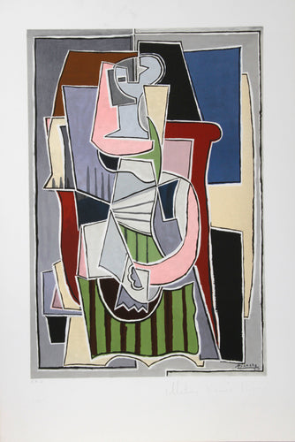Pablo Picasso, Femme au Tablier Rayer Vert, 2-B, Lithograph on Arches Paper
