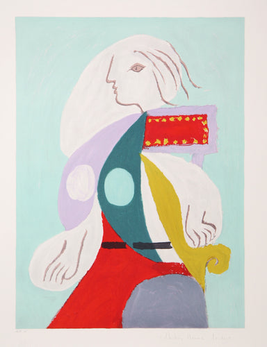 Pablo Picasso, Femme a la Robe Multicolore, 22-B, Lithograph on Arches Paper
