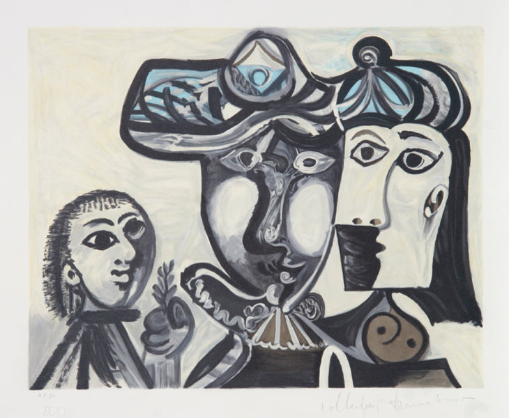 Pablo Picasso, Couple et Enfant au Rameau d'Olivier, 27-1, Lithograph on Arches Paper