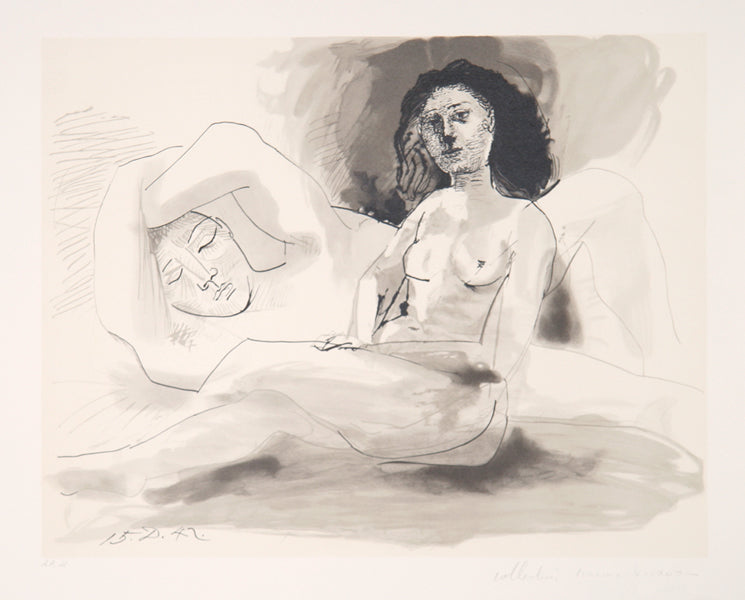 Pablo Picasso, Homme Couchee et Femme Assise, 28-6, Lithograph on Arches Paper