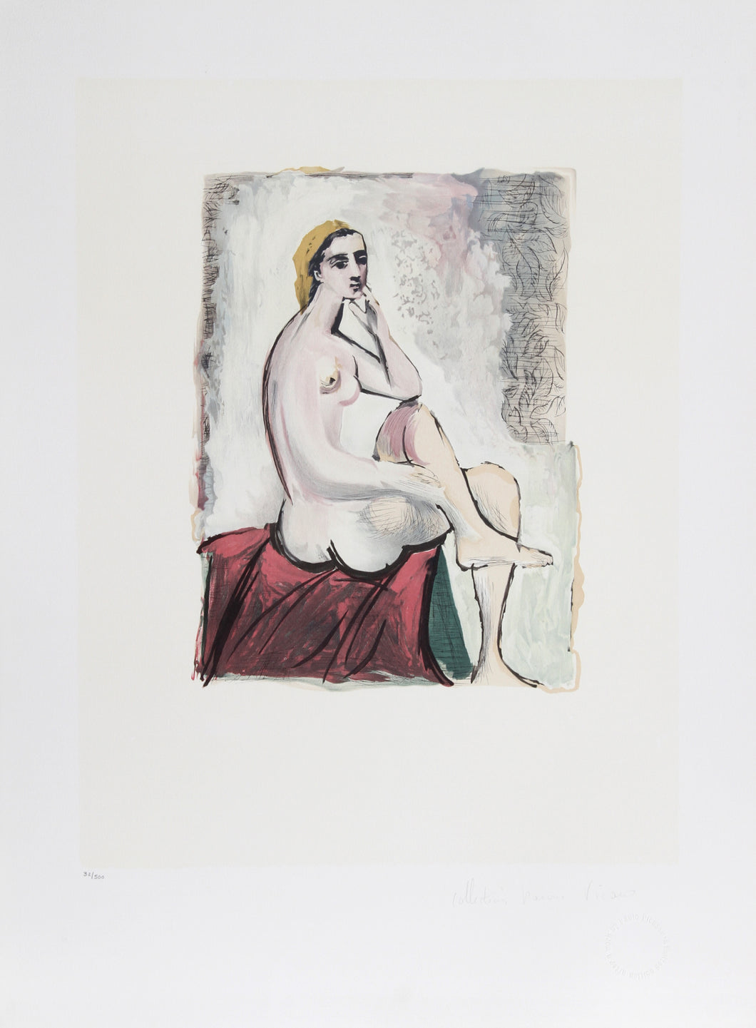 Pablo Picasso, Nu Assis, 32-3, Lithograph on Arches Paper