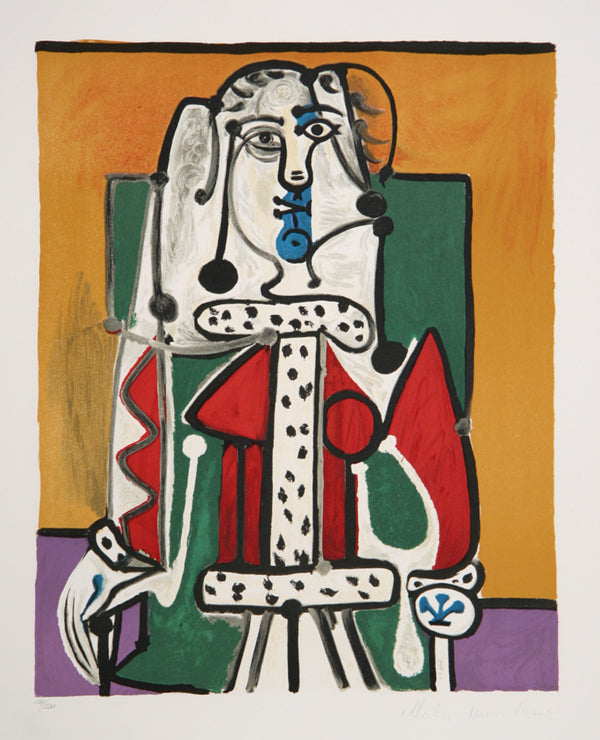 Pablo Picasso, Femme Assise a la Robe d'Hermine, J-144, Lithograph on Arches Paper