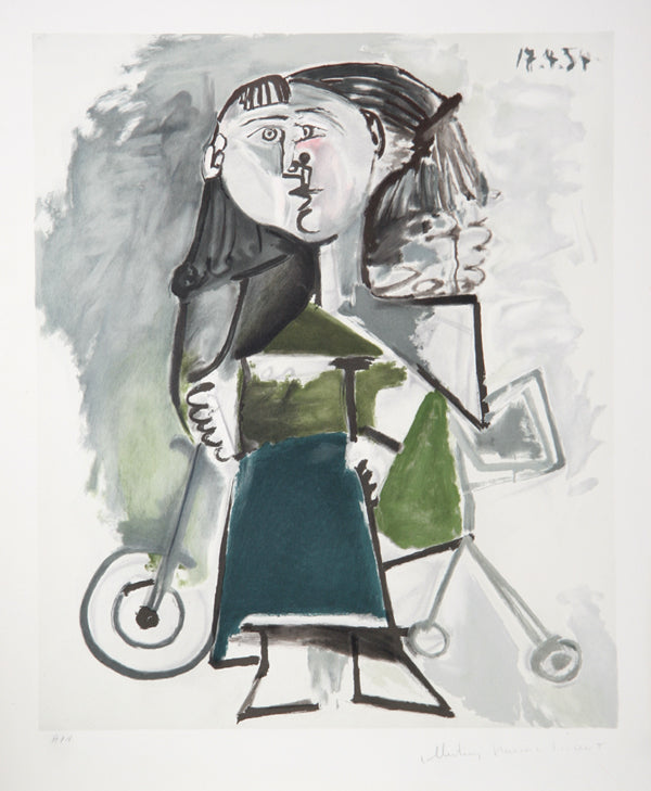 Pablo Picasso, Fillette au Tricycle, J-159, Lithograph on Arches Paper