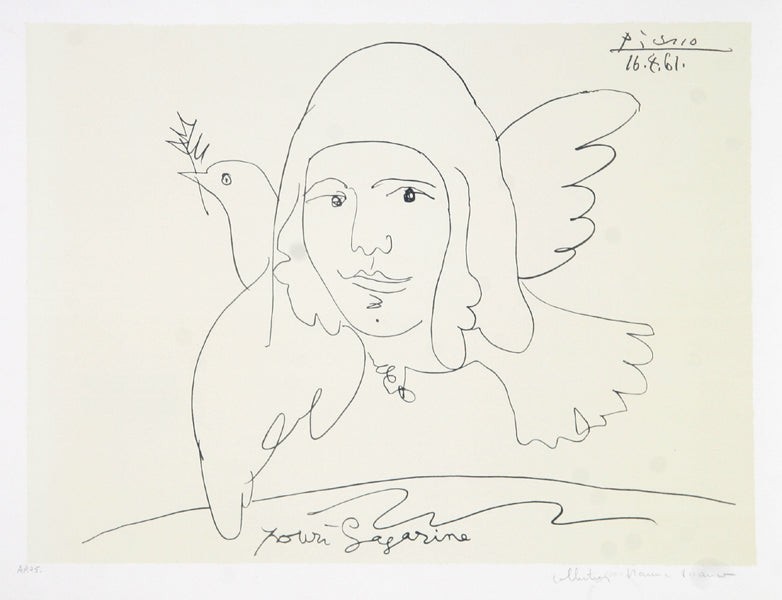 Pablo Picasso, Pour Youri Gagarine, J-195, Lithograph on Arches Paper