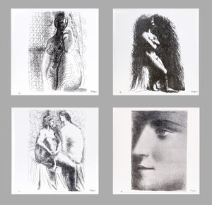 Pablo Picasso, La Femme, Set of Four Ceramic Tiles, estate stamped and numbered verso