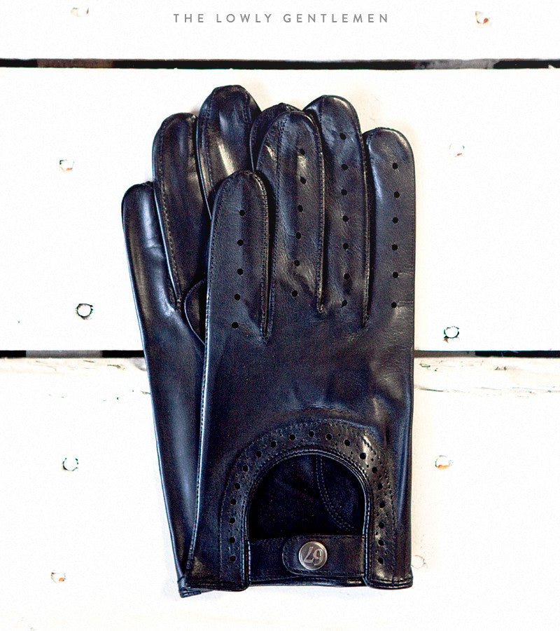 Lowly Gentlemen Black Leather Driving Gloves