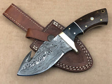 Load image into Gallery viewer, New Custom Handmade Raindrop Damascus Steel Hunting Guthook Skinner Knife