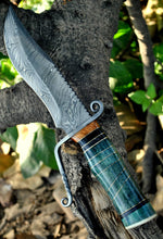 Load image into Gallery viewer, Custom Handmade Damascus Steel Hunting Bowie Knife