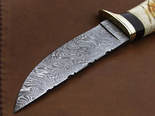 Load image into Gallery viewer, CUSTOM HANDMADE DAMASCUS STEEL HUNTING SKINNING KNIFE