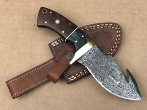 New Custom Handmade Raindrop Damascus Steel Hunting Guthook Skinner Knife
