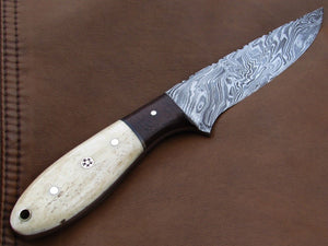 FULL TANG CUSTOM HANDMADE DAMASCUS STEEL HUNTING KNIFE