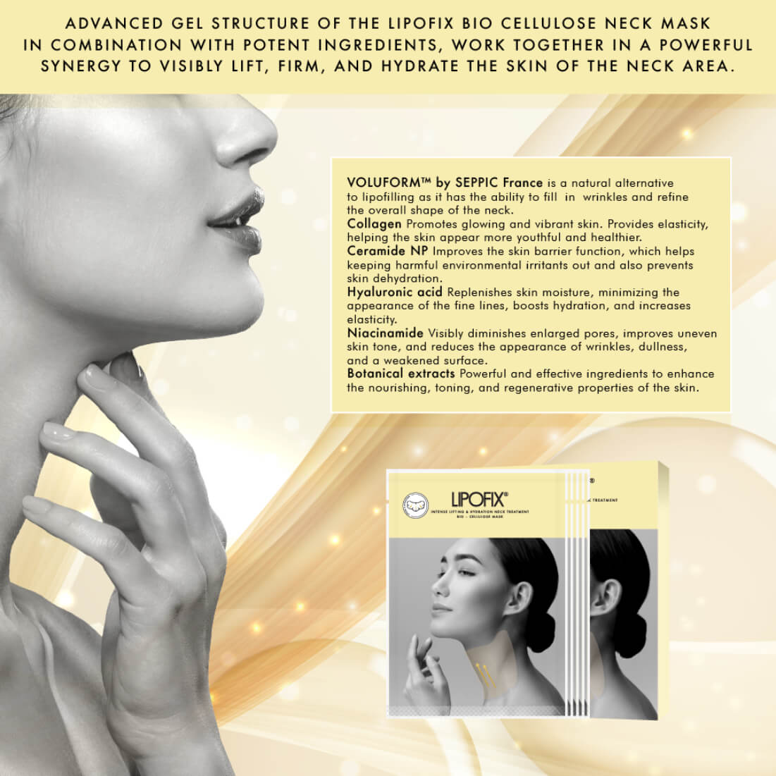 Neck Lifting Hydrating Firming Intense Treatment Bio - Cellulose Mask. LipoFix Ingredients - Medactiveshop