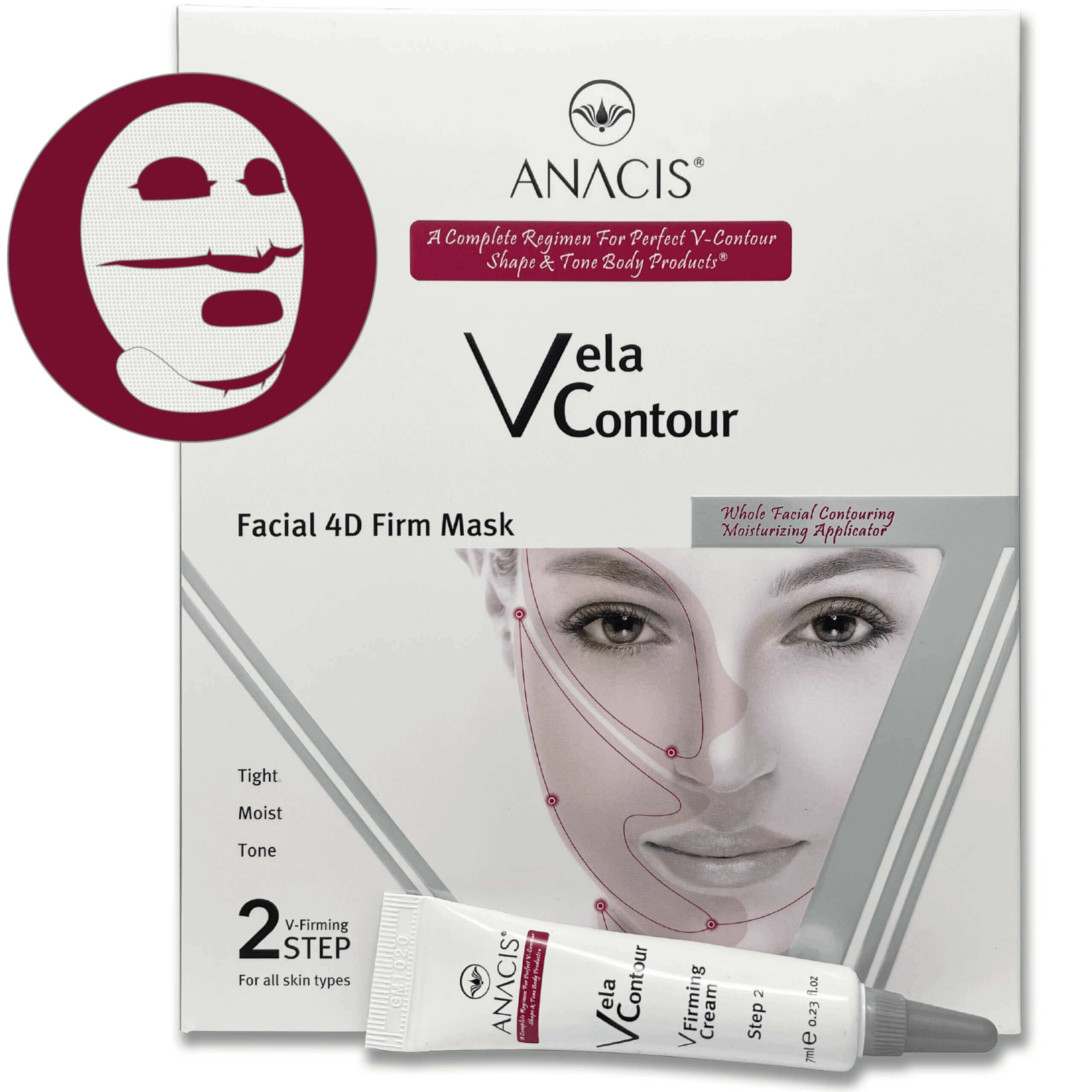 Two-Step Anti-Aging Face and Neck Firming Mask and Cream Moisture Tone Radiance Made in Korea. ANACIS