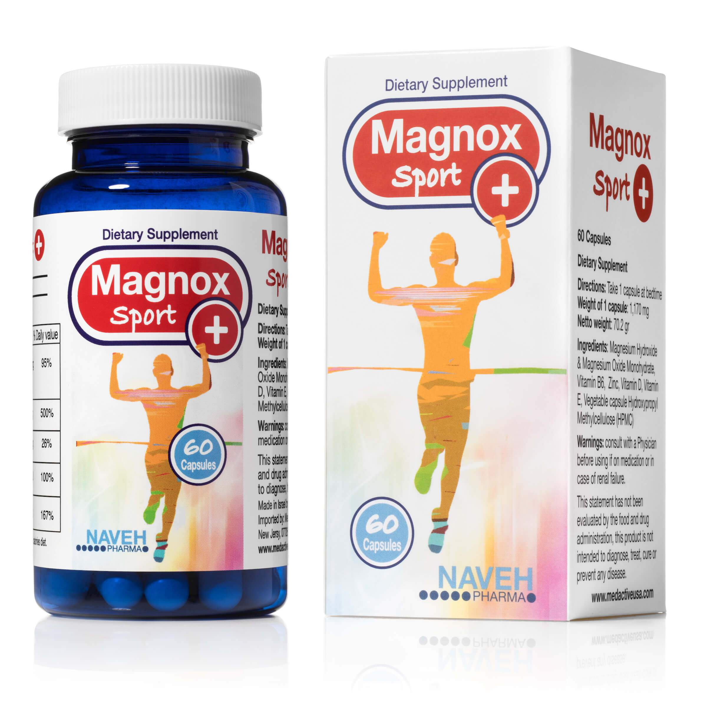 Magnox Plus High Absorption Magnesium and Vitamins Complex Dietary Supplement Pills  - Medactiveshop