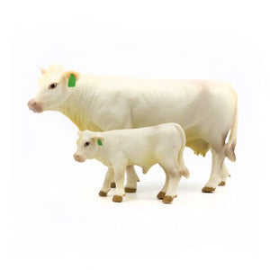 FARM ANIMAL TOY - Charolais Cow-Calf Pair