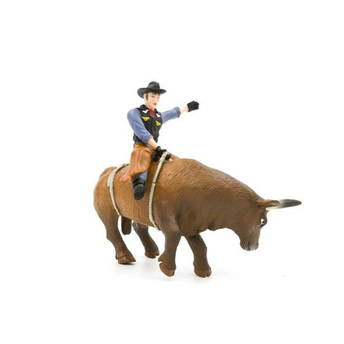FARM ANIMAL TOY - Bucking Bull & Rider (Brown)