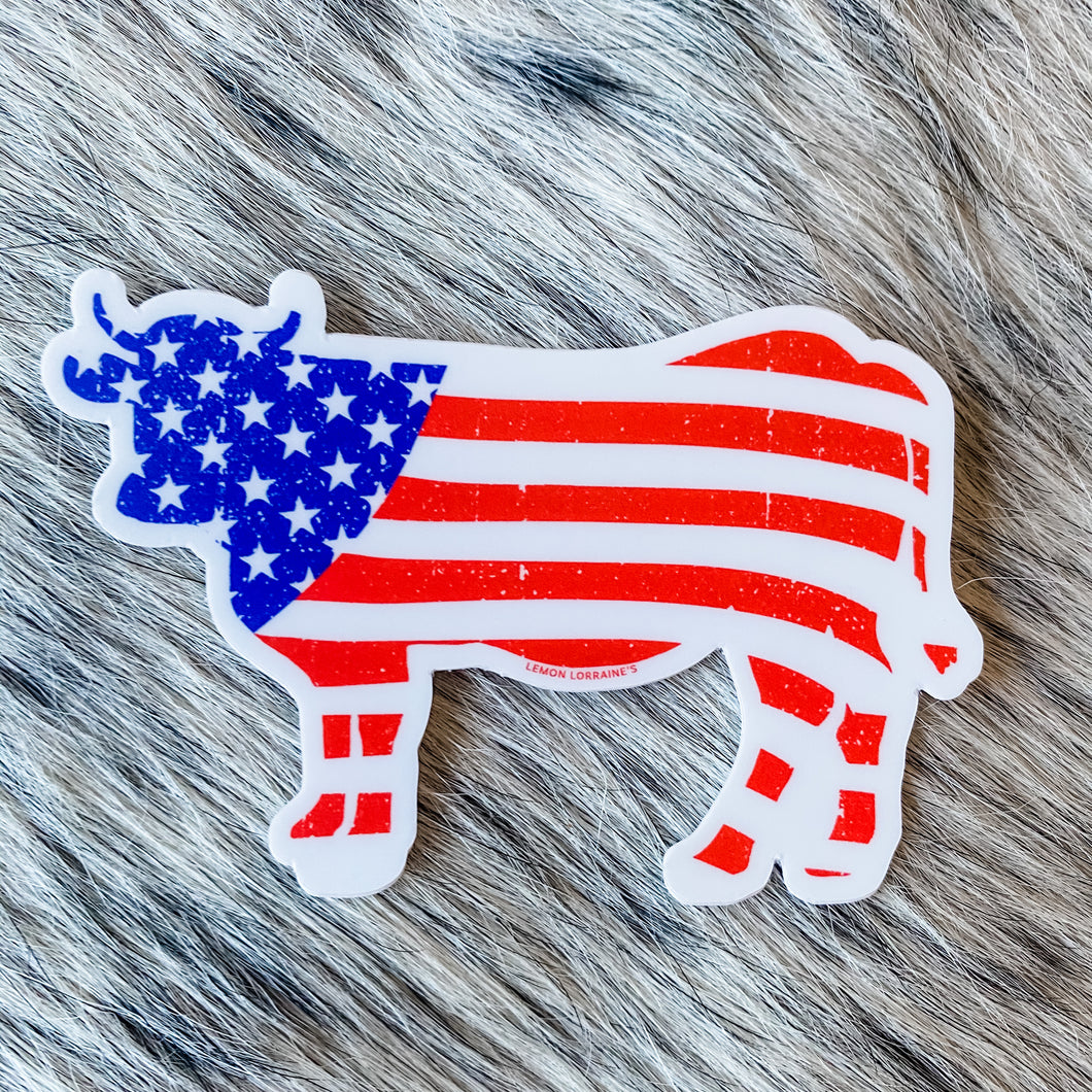 BRAND NEW! Sticker - Patriotic Cow