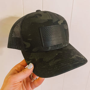 BRAND NEW! Leather USA Patch, Camo Black Hat