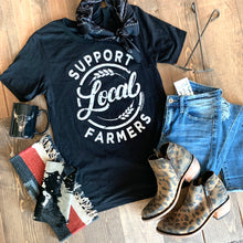 Load image into Gallery viewer, Women's Tee - Support Local Farmers (Black)