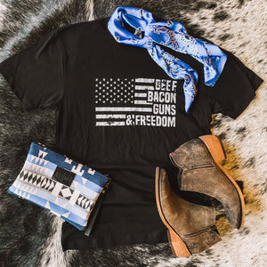 BRAND NEW! Tee - Beef, Bacon, Guns & Freedom (Black)