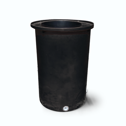 "Agua Fria | Black | 100 Gallon Vertical | 17"" Basket Top - Tijeras Rain Barrels"