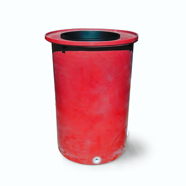 "Cubo | Bright Red | 200 Gallon Vertical | 17"" Basket - Tijeras Rain Barrels"