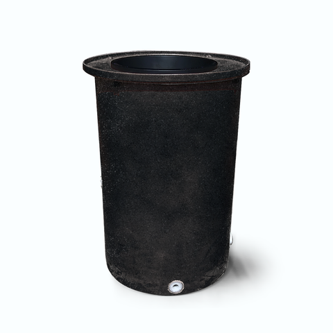 "Agua Fria | Black with Speckle | 55 Gallon Vertical | 17"" Basket Top - Tijeras Rain Barrels"