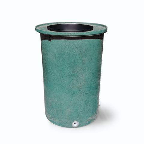 "Cubo | Turquoise | 200 Gallon Vertical with Speckle  | 17"" Basket - Tijeras Rain Barrels"
