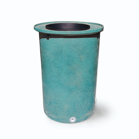 "Cubo | Turquoise | 55 Gallon Vertical with Speckle  | 17"" Basket - Tijeras Rain Barrels"