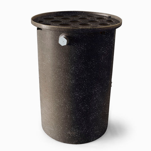 Agua Fria  | Black With Speckle | 200 Gallon Vertical | Canale Flat Top (Polka Dot) - Tijeras Rain Barrels