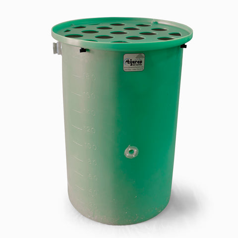 Agua Fria | Bright Green | 55 Gallon Vertical | Canale Flat Top (Polka Dot) - Tijeras Rain Barrels