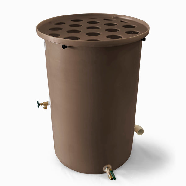 Agua Fria | Dark Adobe | 100 Gallon Vertical | Canale Flat Top (Polka Dot) - Tijeras Rain Barrels