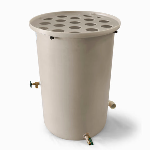 Agua Fria | Wickertone | 360 Gallon Vertical | Canale Flat Top (Polka Dot) - Tijeras Rain Barrels
