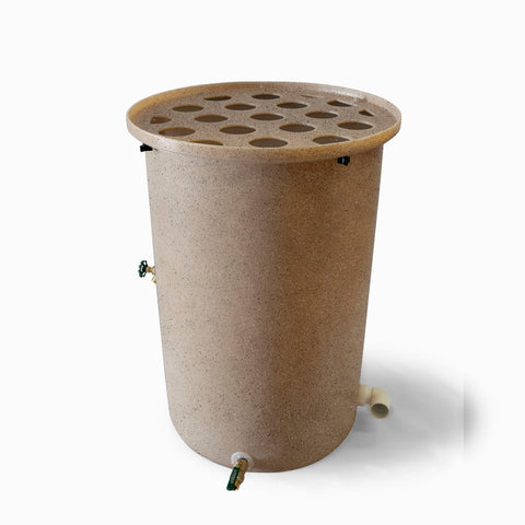 Agua Fria | Latte With Speckle | 100 Gallon Vertical | Canale Flat Top (Polka Dot) - Tijeras Rain Barrels