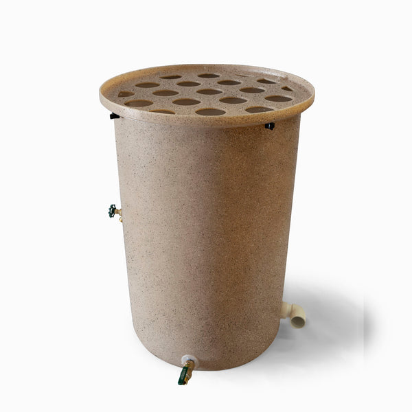 Agua Fria | Latte With Speckle | 55 Gallon Vertical | Canale Flat Top (Polka Dot) - Tijeras Rain Barrels