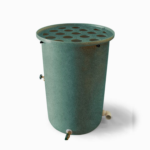 Agua Fria | Sherwood Green With Speckle | 200 Gallon Vertical | Canale Flat Top (Polka Dot) - Tijeras Rain Barrels