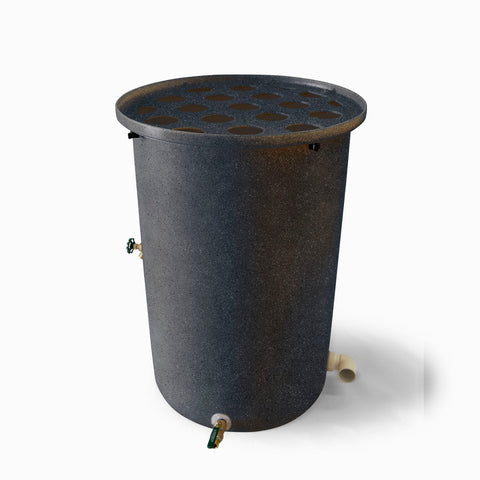 Agua Fria | Dark Grey With Speckle | 100 Gallon Vertical | Canale Flat Top (Polka Dot) - Tijeras Rain Barrels