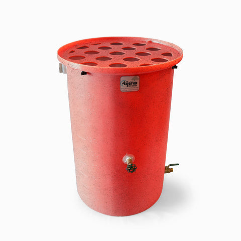 Agua Fria | Bright Red With Speckle | 100 Gallon Vertical | Canale Flat Top (Polka Dot) - Tijeras Rain Barrels