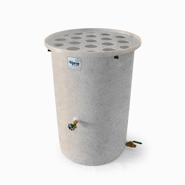 Agua Fria | White With Speckle | 200 Gallon Vertical | Canale Flat Top (Polka Dot) - Tijeras Rain Barrels