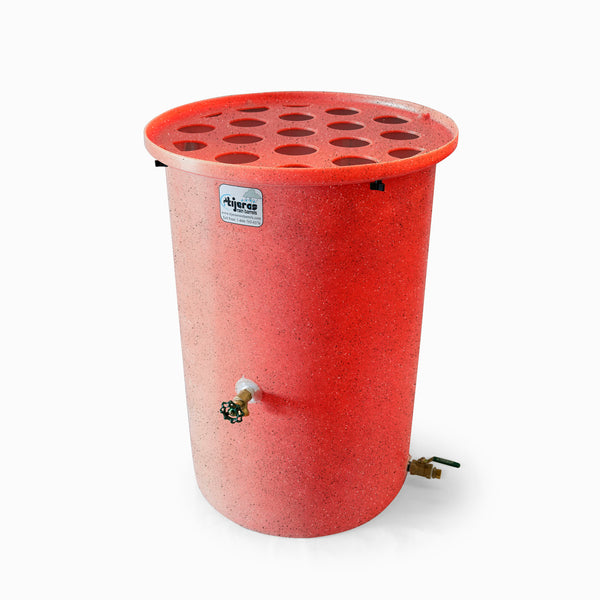 Agua Fria | Bright Red With Speckle | 360 Gallon Vertical | Canale Flat Top (Polka Dot) - Tijeras Rain Barrels