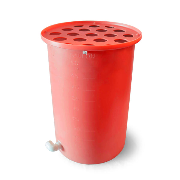 Cubo | Bright Red | 200 Gallon Vertical | Polka Dot Top - Tijeras Rain Barrels