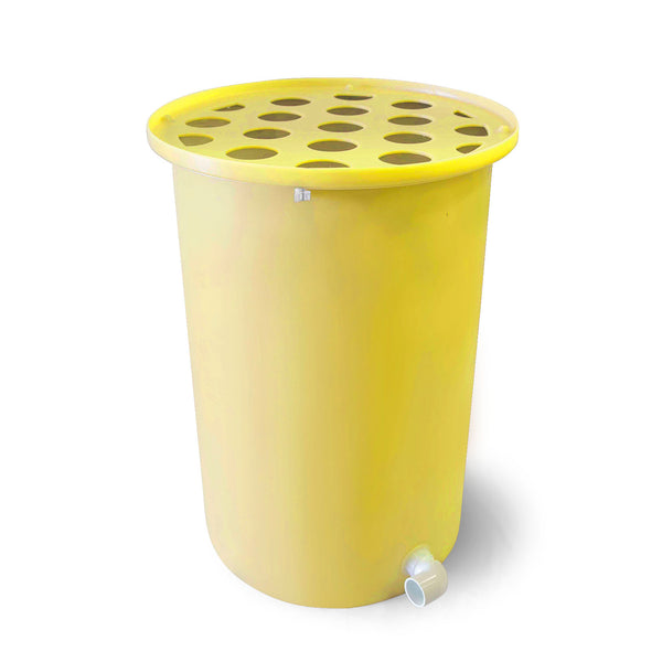 Cubo | Bright Yellow | 200 Gallon Vertical | Polka Dot Top - Tijeras Rain Barrels