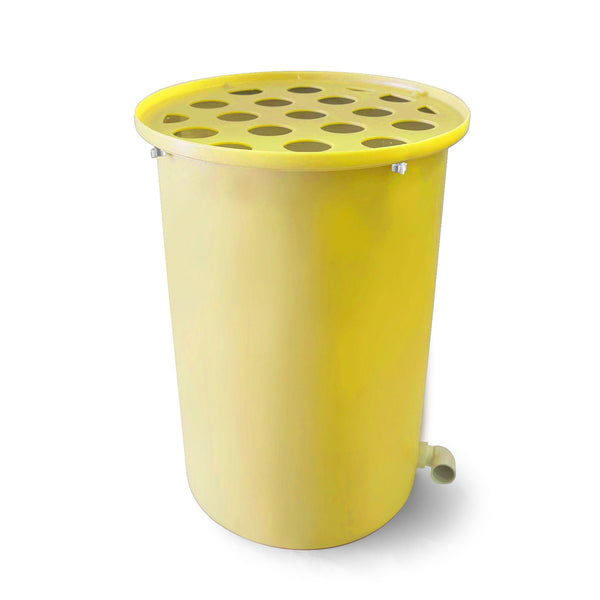 Cubo | Bright Yellow | 100 Gallon Vertical | Polka Dot Top - Tijeras Rain Barrels