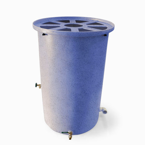 Agua Fria | Bright Blue With Speckle | 200 Gallon Vertical | Canale Flat Top (Pie Shaped) - Tijeras Rain Barrels