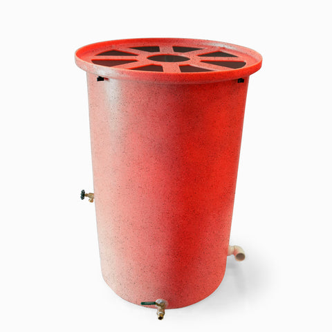 Agua Fria | Bright Red With Speckle | 100 Gallon Vertical | Canale Flat Top (Pie Shaped) - Tijeras Rain Barrels