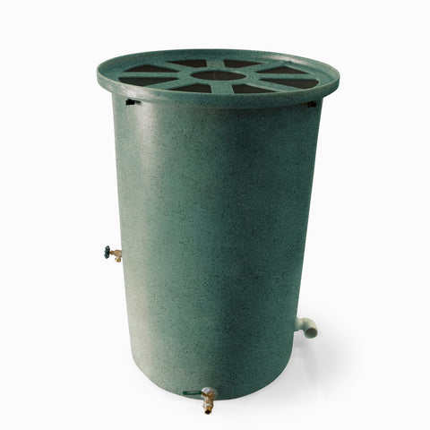 Agua Fria | Sherwood Green With Speckle | 100 Gallon Vertical | Canale Flat Top (Pie Shaped) - Tijeras Rain Barrels