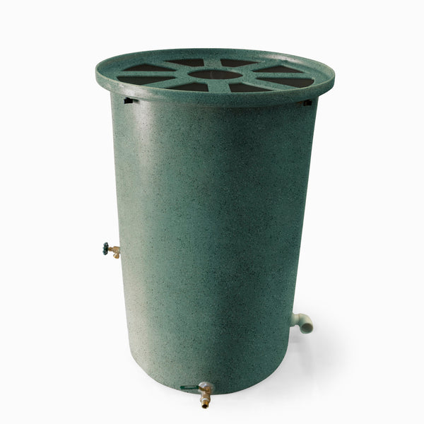 Agua Fria | Sherwood Green With Speckle | 200 Gallon Vertical | Canale Flat Top (Pie Shaped) - Tijeras Rain Barrels